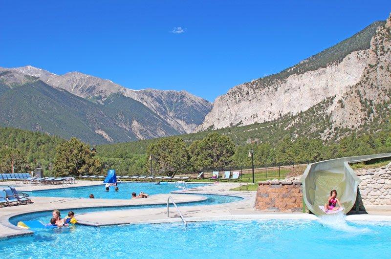 The Upper Pools Amp Water Slide At Mt Princeton Hot Springs